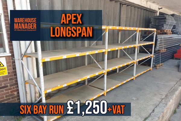 Used Apex Longspan Shelving
