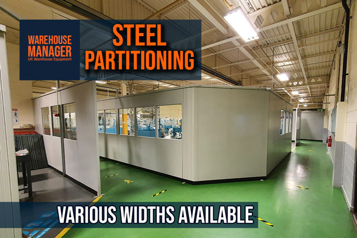 Used Double Skin Steel Partitioning – For Use in Warehouse or Office – UPA001