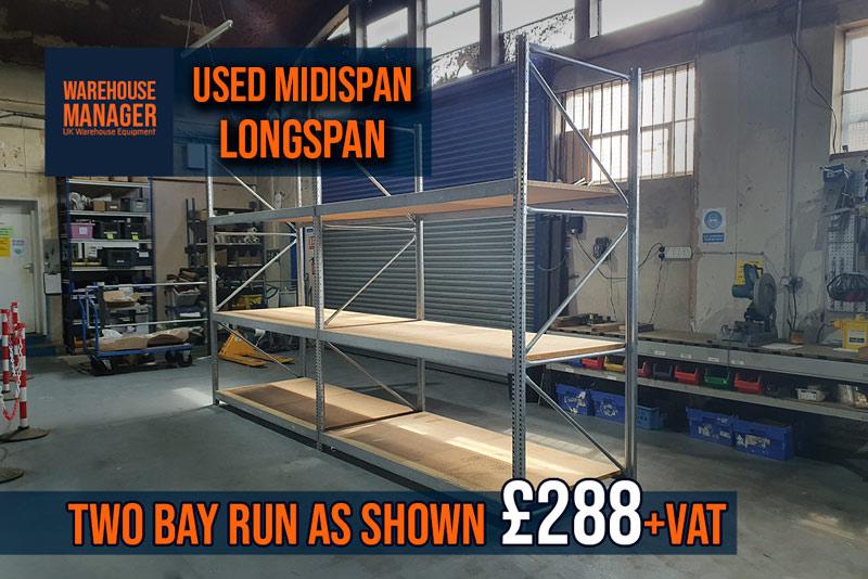 Used Midispan Longspan Shelving – USH043